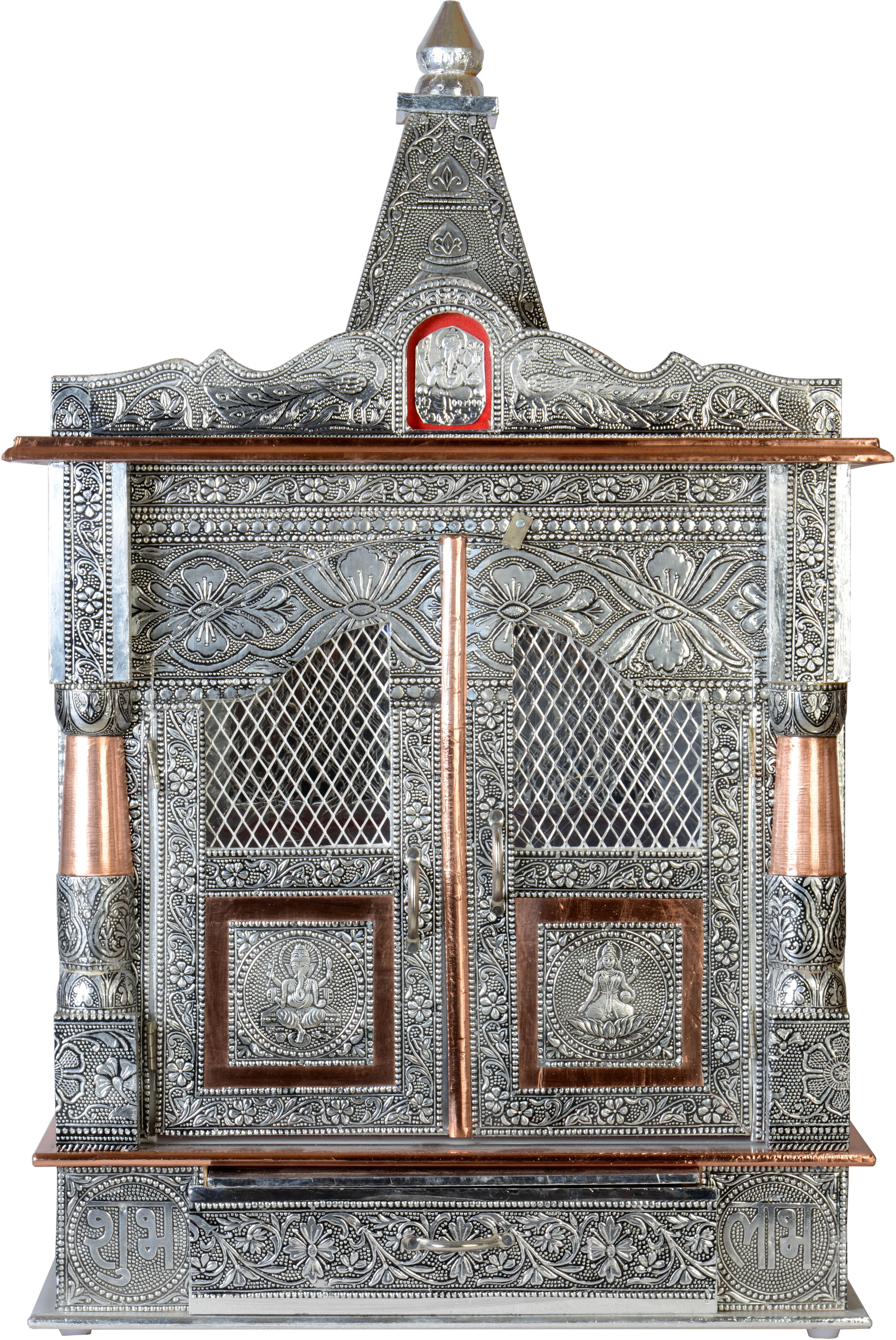 Akshar Furniture Aluminium Oxodized Aluminium Home Temple Height: 53 cm