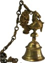 Aakrati Hanging Bell With Peacock By Aakrati Brass Home Temple (Height: 20 Cm)