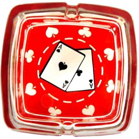true True Glass Square Ashtray Red Color 10cm 10 inch Glass Hookah