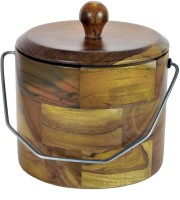 Hommate Wooden With Steel Handle Wooden Ice Bucket (Beige)
