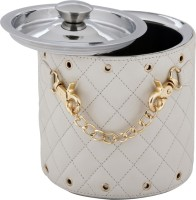 Montstar Designer Ice Bucket Double Wall In Hand Stitched White PU Leather And Gold Embellishment - 15 X 18cm Stainless Steel Ice Bucket (Steel)
