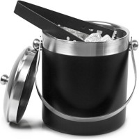 King Traders Insulated/Double Walled Stainless Steel Ice Bucket (Black 1.75 L)