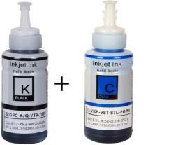 Inkpro Ink Set Compatible For Epson Printer L100 / L110 / L200 / L210 / L220 / L300 / L350 / L355 / L550[ Combo Of Black And Cyan Color ] Black, Cyan Ink (Black, Cyan)