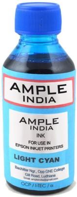 Ample India 100ML Compatible For Epson L100,L110,L200,L210,L300,L350,L355,L550,L555 Cyan Light Ink (Cyan Light)