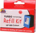 Turbo Ink Refill Kit For HP 680 Color Cartridge Tri Color Ink (Tri Color)