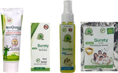 Surety for safety Insect Repellents Surety for safety MosQshield Depa + Herbal After Bite Spray + Anti Mosquito spray + Anti mosquito Bracelet Yellow