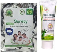 Surety For Safety Herbal Anti Mosquito Bracelet Blue + MosQshield Cream (Pack Of 2)