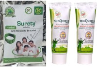 Surety For Safety Anti Mosquito Bracelet Green + MosQshield Cream + MosQshield Cream (Pack Of 3)
