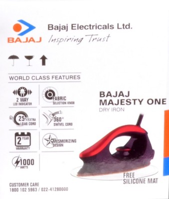Bajaj Majesty One Dry Iron (Black, Brown)