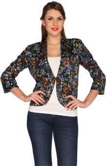 Bedazzle 3/4 Sleeve Floral Print Women's One Button Jacket