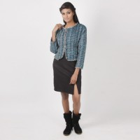 MARTINI Full Sleeve Checkered Cropped Jacket