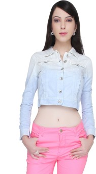 Bedazzle Full Sleeve Solid Women's Front Button Denim Jacket