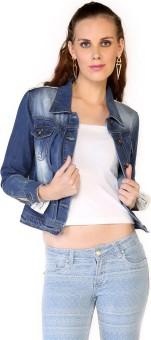 Globus Blue Medium Size Full Sleeve Solid Women's Jackets Denim Jacket