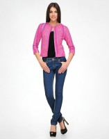 Color Cocktail 3/4 Sleeve Printed Cropped Jacket