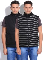 Parx Sleeveless Striped Reversible Men's Reversible Jacket