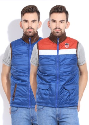 Pepe Pepe Sleeveless Solid Men's Reversible Jacket (Blue)