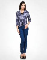 Color Cocktail 3/4 Sleeve Striped Women's Cropped Jacket