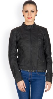 Justanned Full Sleeve Solid Women's Leather Jacket Jacket