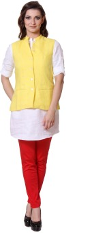 Yell Sleeveless Solid Women's Woven Linen Jacket