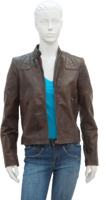 Justanned Justanned Full Sleeve Solid Women's Jacket (Brown)
