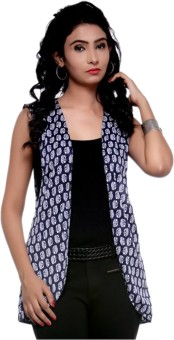 H&F Sleeveless Printed, Polka Print Women's Printed Jacket