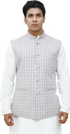vastrabyashish Sleeveless Geometric Print Men's Jacket