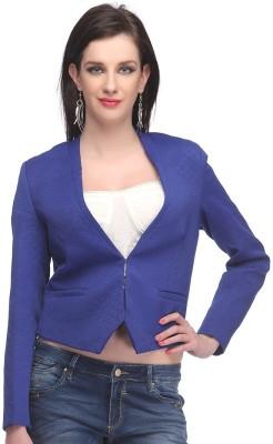 Madame Madame Full Sleeve Solid, Animal Print Women's Jacket (Blue)