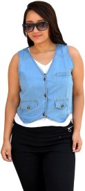 Beautic Sleeveless Self Design Women's Denim Jacket