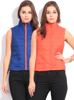 Flying Machine Sleeveless Solid Women's Jacket