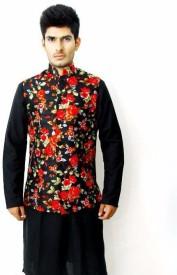 VastraByAshish Sleeveless Floral Print Men's Jacket