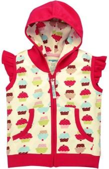 Snuggles Half Sleeve Printed Baby Girl's Cotton Hooded Jacket