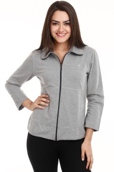 Mustard Grey Fleece Full Sleeve Solid Women's Quilted Jacket