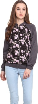 Blue Sequin Full Sleeve Floral Print Women's Jacket