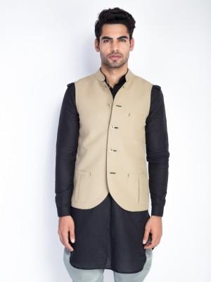Mr Button Sleeveless Solid Men Nehru Linen Jacket