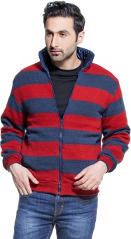 Zovi Quilt Red And Blue Full Sleeve Striped Reversible Men's Quilted Reversible Jacket