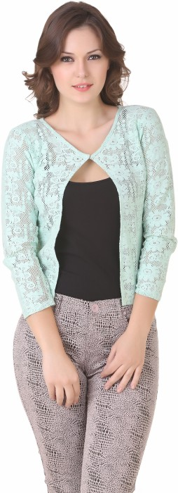 NOD Green 3/4 Sleeve Floral Print Women's Lace Work Jacket