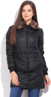 Flying Machine Full Sleeve Striped Women's Quilted Jacket