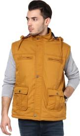 Okane Sleeveless Self Design Men's Self Design Jacket Jacket
