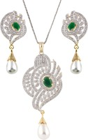 Syonaa Pendant Set Collection Alloy, Brass Jewel Set White, Green