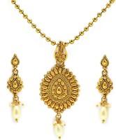 Zaveri Pearls Ethnic Diva Traditional Pendant Zinc Jewel Set Gold, White