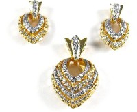 Zakaah Jewels A Beautiful Heart Shaped AD 3 Pcs Pendant Earrings Sets-PS1002 Alloy Jewel Set Gold
