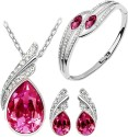 Cyan Pink Austrian Crystal Necklace Set Combo with Crystal earrings and elegant crystal bracelet Alloy Jewel Set - Pink