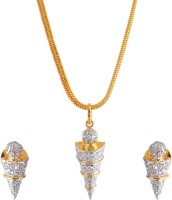 Weldecor Cone Shaped American Diamond Pendant With Earrings Alloy Jewel Set White, Silver, Gold