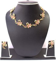 Zaveri Pearls Lavishing Floral Necklace Set Zinc Jewel Set Pink