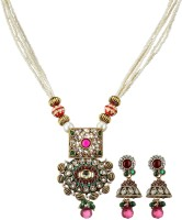 Fabroop Multi-Color Stone Studded Trendy Alloy Jewel Set Purple