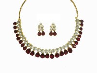 Sempre Of London Red Pear Shape Alloy Jewel Set Gold