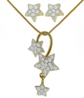 DG Jewels Bollywood Beautiful Pendant-CPS8063 Alloy Jewel Set (White)