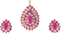 Vastradi Pretty Paachi Pendant Set Brass, Alloy Jewel Set Pink, White