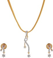 Weldecor B'ful American Diamond Unique Design Pendant Set In Droplet Design With Earrings Alloy Jewel Set Multicolor