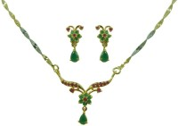 Jaipur Mart Valentines Special Flower Shape Red & Green Brass Jewel Set Multicolor